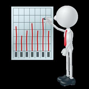 グラフで結果を示す労働安全コンサルタント